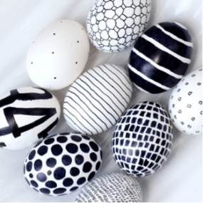 Black & White Decorated Easter Eggs