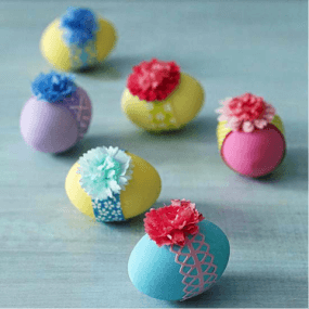 Colorful Easter Eggs with Flowers on Top